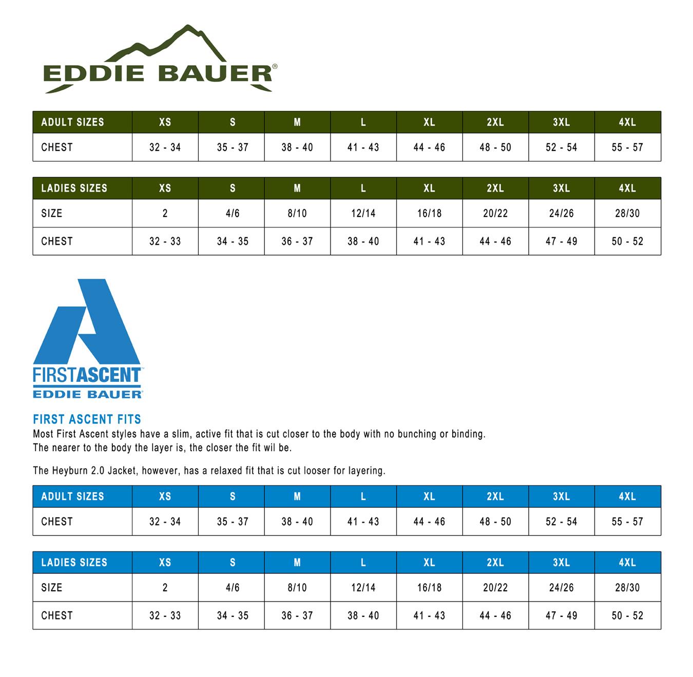 Eddie bauer first ascent sizing chart