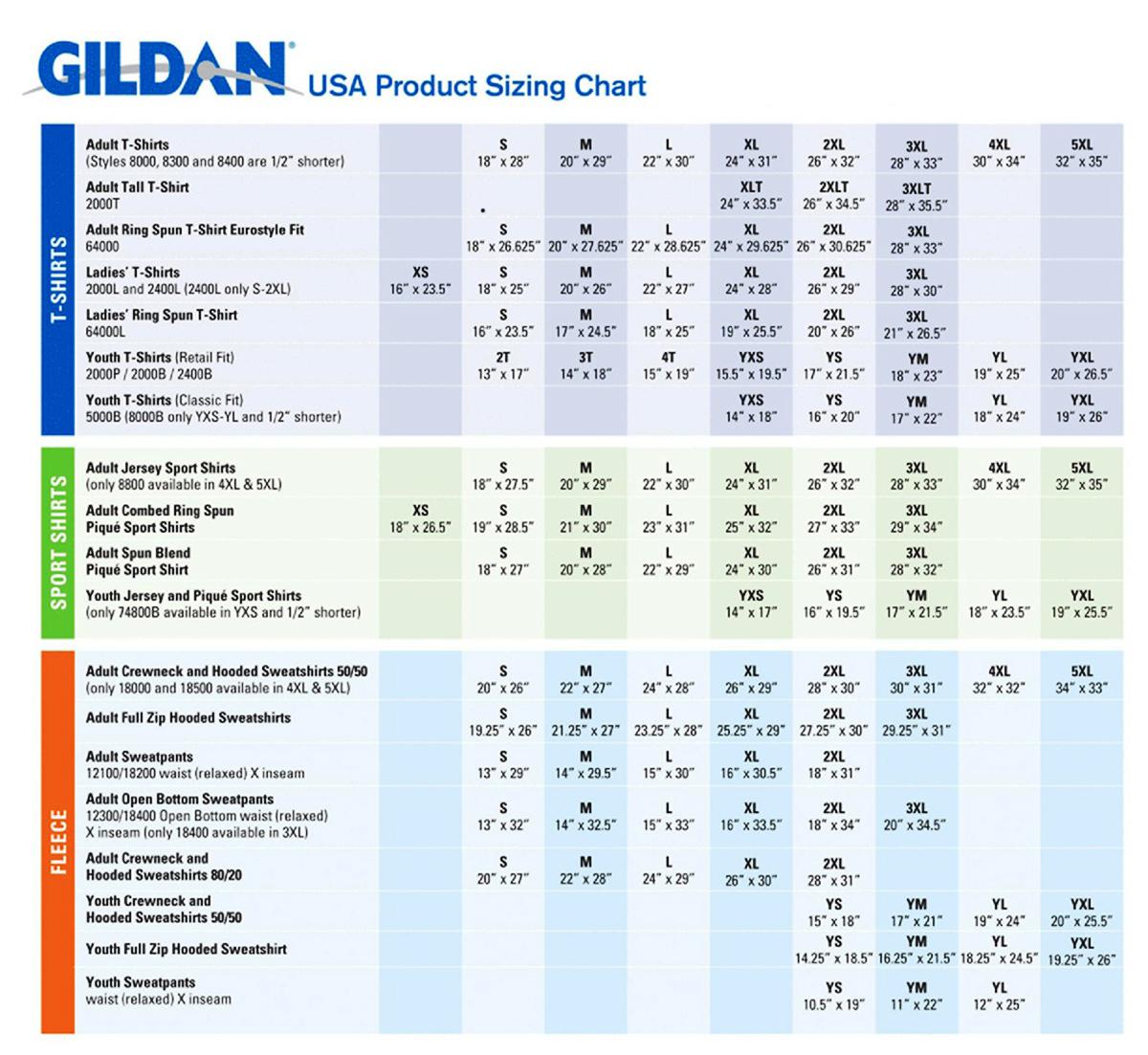 Gildan sizing chart