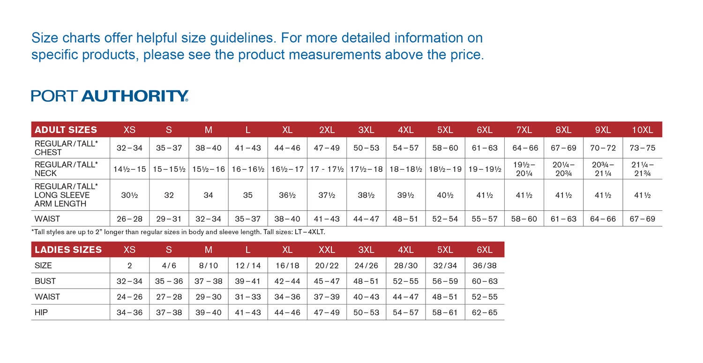 Port authority sizing chart